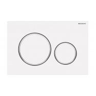 Geberit Matte White Round Sigma 20 Fingerprint Resistant Flush Plate