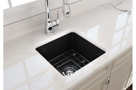 Cuisine 46 x 46 Inset / Undermount Fine Fireclay Matte Black Sink