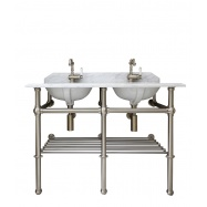 Mayer Double Basin Stand With 120 x 55 Real Carrara Marble Top