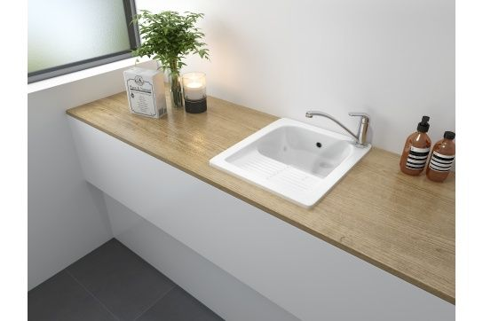 Barlow 44x52 Fine Fireclay Ribbed Laundry Sink