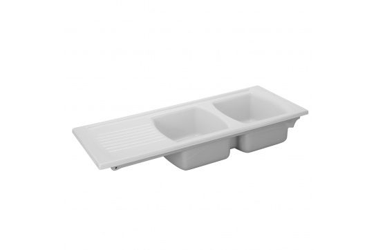 Lusitano 120 x 50 Inset Fine Fireclay Kitchen Sink - Double Bowl and Single Drainer