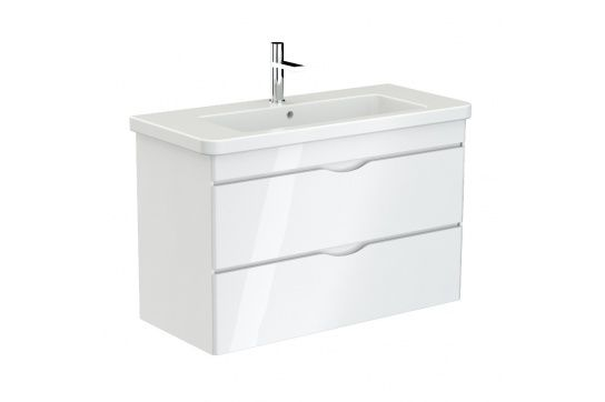Bergamo 100 x 45 Wall Hung White Gloss Vanity with Ceramic Top