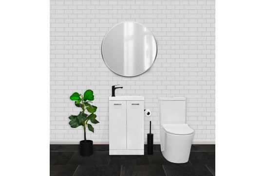 Companion 50 x 25 Floor Standing White Gloss Compact Vanity with Polymarble Top
