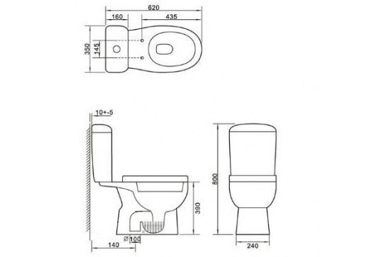 Eco S-Trap Full Ceramic Close Coupled Toilet Suite with Soft Close Quick Release Seat