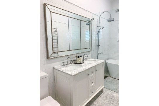 Coventry 120 x 55 Double Bowl Satin White Vanity with Real Marble Top & Ceramic Undercounter Basins