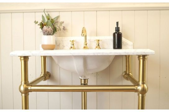 Mayer Washstand With 75 x 55 Real Carrara Marble Top