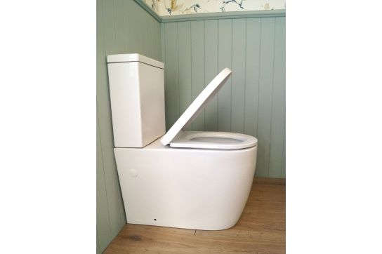 Narva Comfort Height Rimless Close Coupled Back to Wall Toilet Suite with Soft Close Quick Release Seat