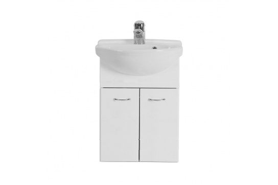 Roberto 40 x 35 Wall Hung White Gloss Compact Vanity with Ceramic Semi-recessed Top