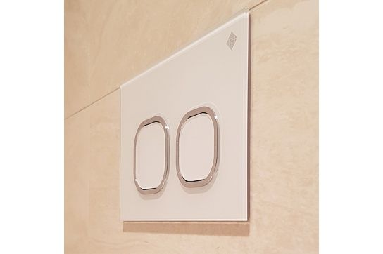 Rushmore White Glass Dual-Flush Plate (for AU301D & AU301A Inwall Cisterns)