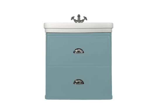 Stafford 62 X 50 Wall-Mounted Basin & Vanity - Duck Egg Blue